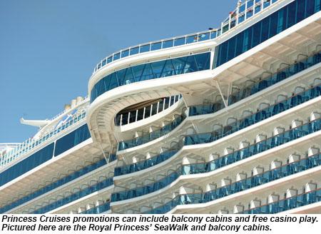 Royal Princess' SeaWalk and balcony cabins.