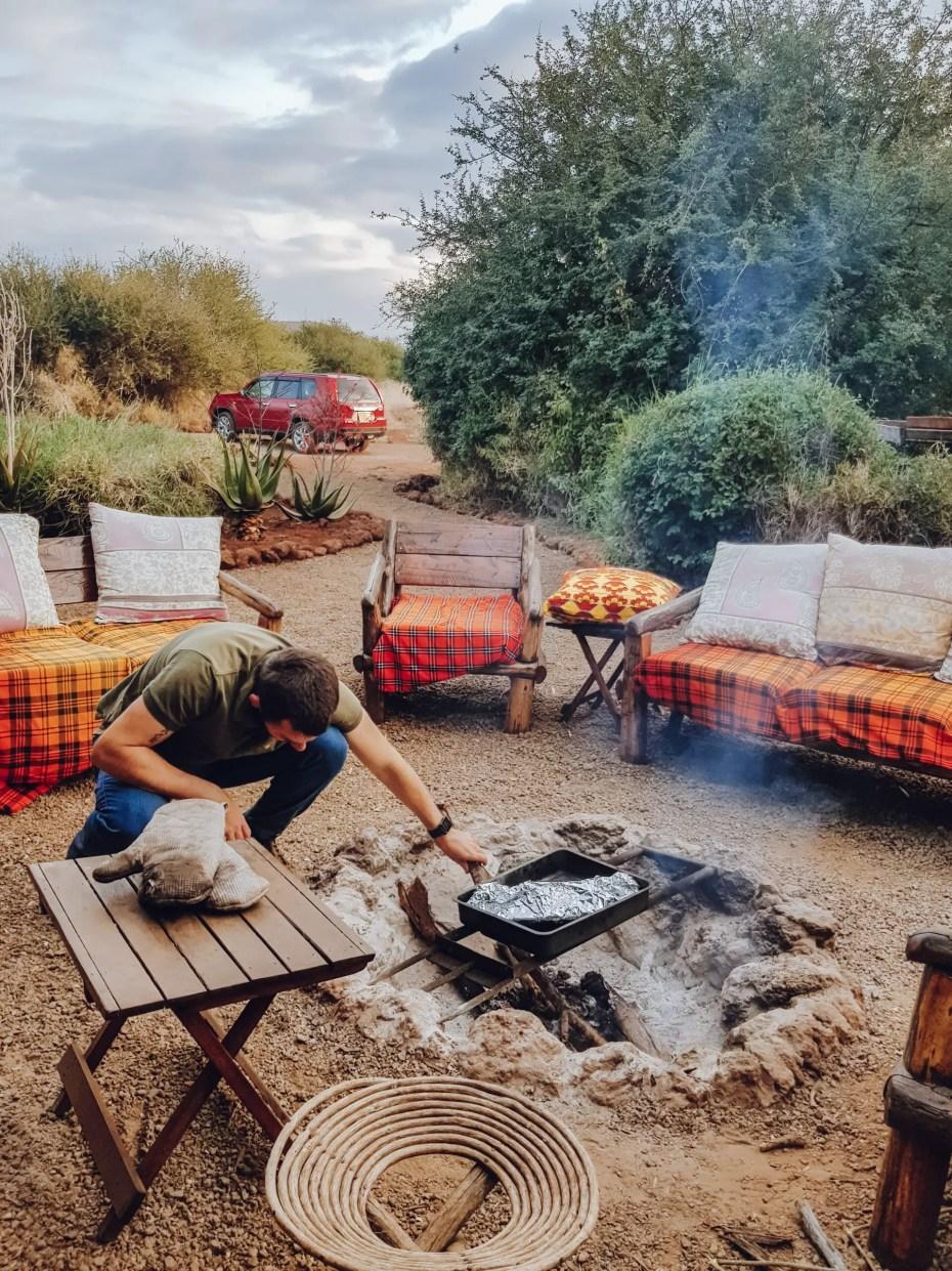 Mark Tending a Campfire