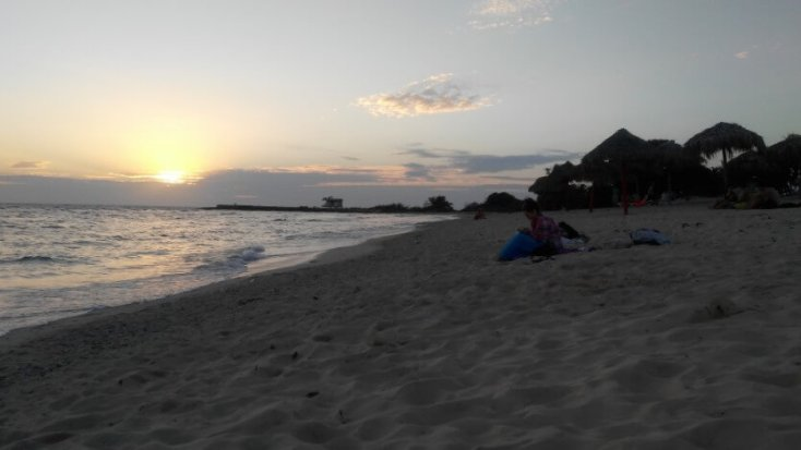 Watching the sunset at Playa de los Cocos, Golful Porcilor, Cuba