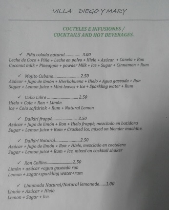 Cuban cocktails menu prices buget