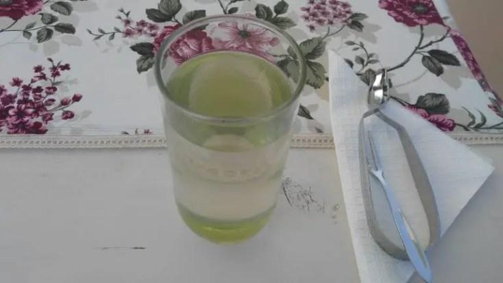 Elderberry juice and snail eating utensils