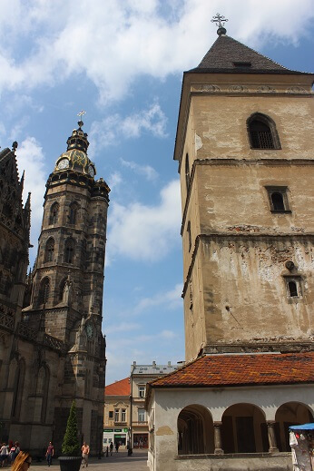 urban tower and cathedral