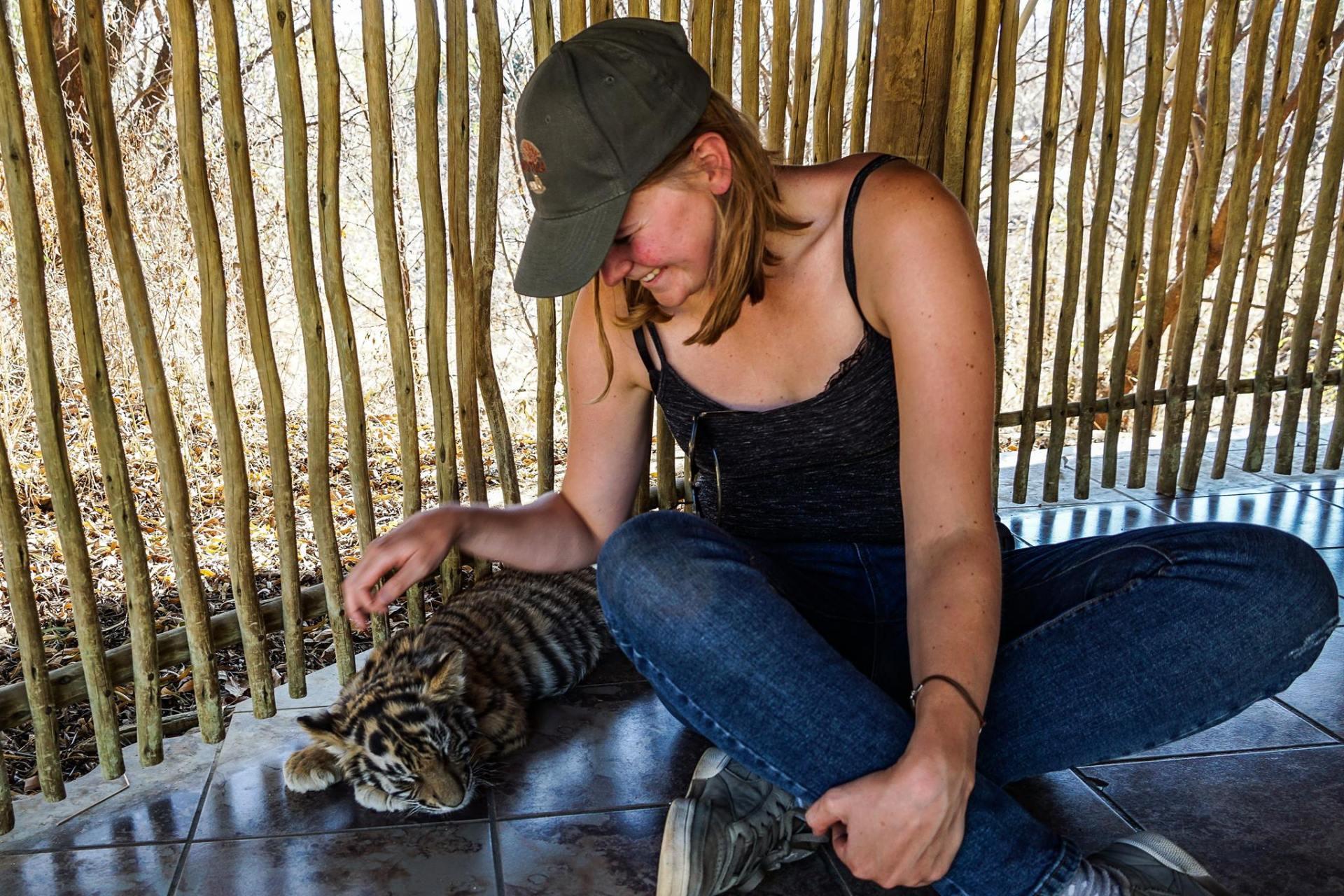 Knuffelen met een tijger in Ukutula Zuid-Afrika