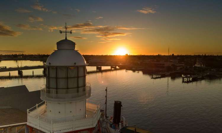 Sunset over Port Adelaide with the lighthouse in the foreground