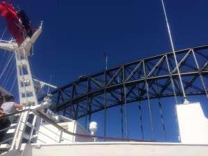 Cruise Ship going under Sydney Harbour Bridge