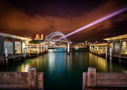 Sydney Harbour Bridge at night from the dock