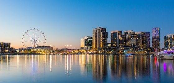 Panoramic image of the docklands waterfront area of Melbourne, Accommodation Docklands Melbourne