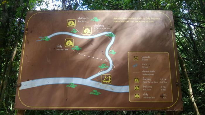 Map for trekking in the rainforest