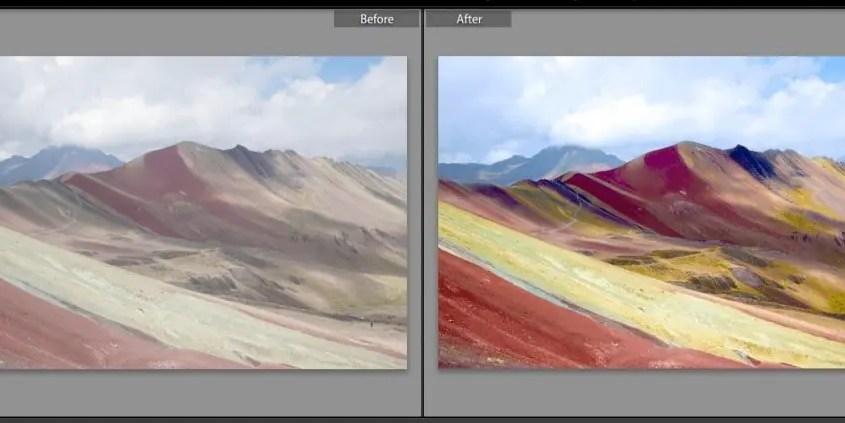 montagna arcobaleno lavorazione foto