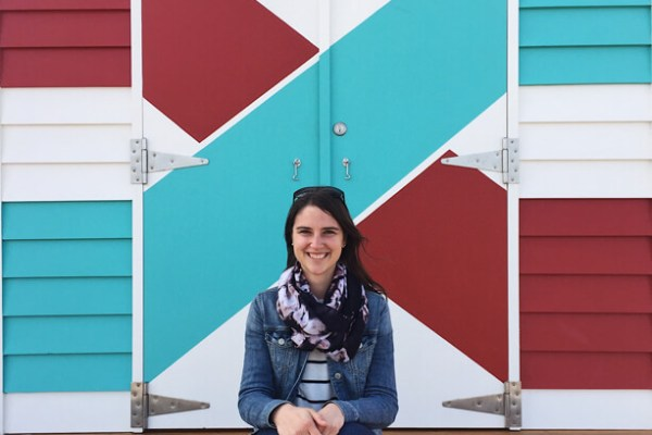 Me having a seat in front of one of the famous Brighton Bathing Boxes in Australia!