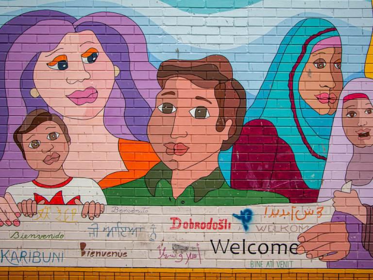 Pamela Rojas Welcome Mural in Downtown Kitchener