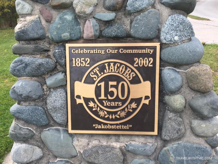 Plaque commemorating 150 Years of Jakobstettel St Jacobs in Ontario, Canada