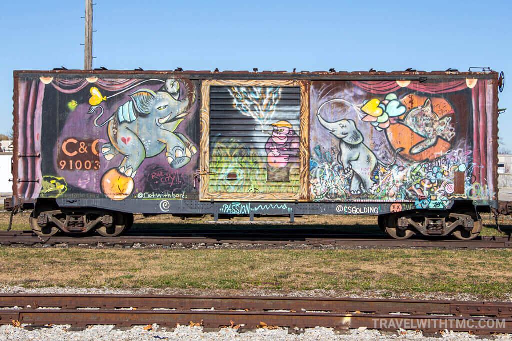 Railway Car Art at CASO Station featuring Jumbo the Elephant