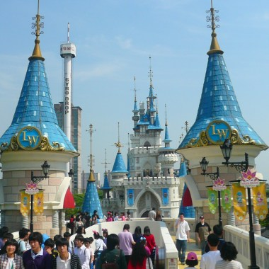 While it has a clear copy of the Disneyland Castle, the Lotte World outdoor section has some of the better rides, and is pretty in its own right.
