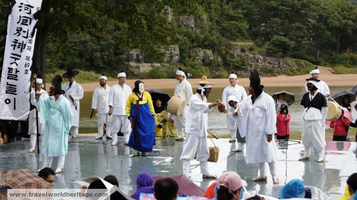 During the mask festival, many performances are done in front of the river.