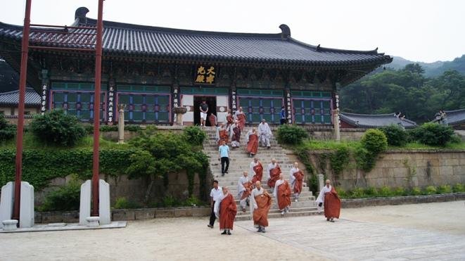 The monks at Haeinsa start the ritualistic climb up Gayasan mountain.