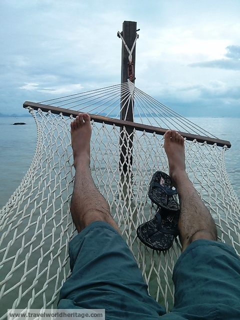 Laid on the hammocks of course.
