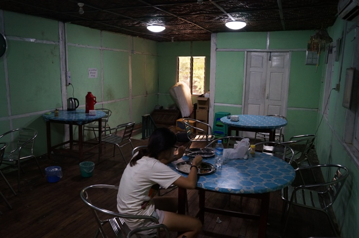 A restaurant in Mandalay. It didn't look like much, but it was delicious and cheap!