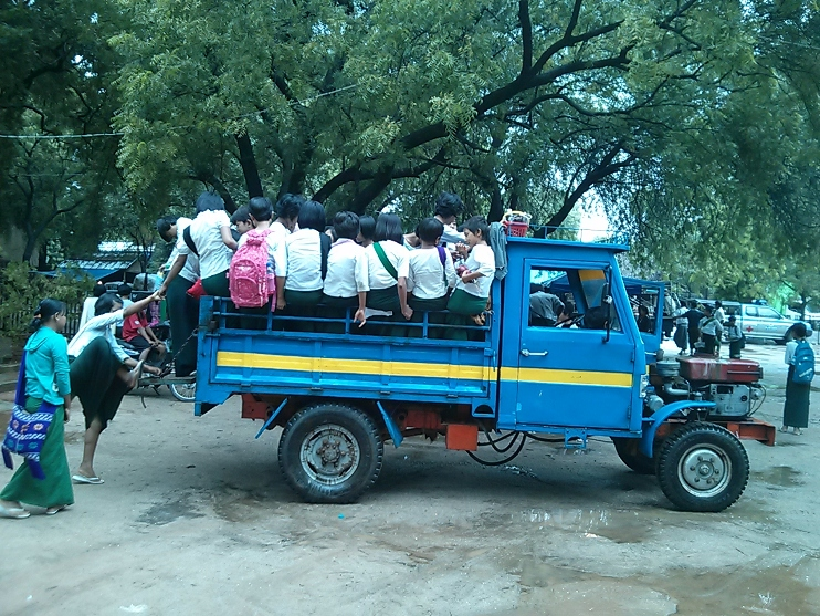I didn't take a picture of our bus, but check out this school bus in Bagan!