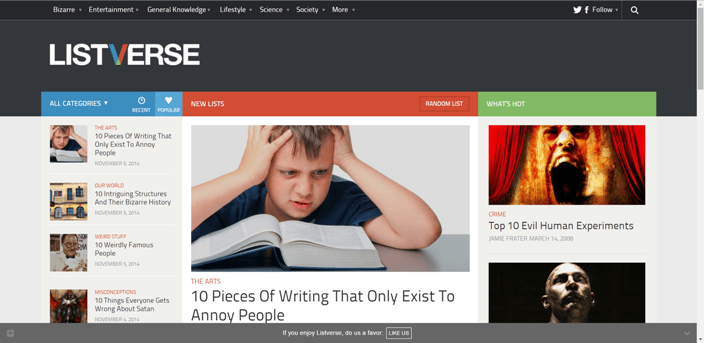 Listverse Homepage