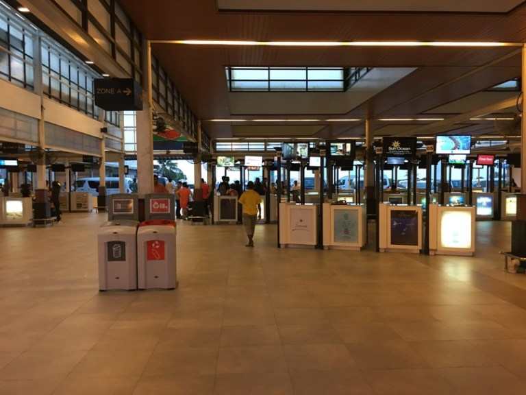 Dozens of resort booths as soon as you clear customs.