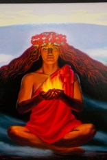 Hawaii's famous female deity Pelehonuamea (or Pele), as depicted in this painting at Jaggar Museum by Herb Kane, is revered by native Hawaiians as godddess of the island's volcanoes, Big Island, Hawaii. Photo by Dave Houser.
