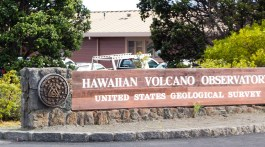 The Hawaiian Volcano Observatory overlooks Kilauea Caldera and monitors the activity of one of the most active volcanoes on earth, Hawaii Volcanoes National Park, Big Island, Hawaii. Photo by Dave Houser.