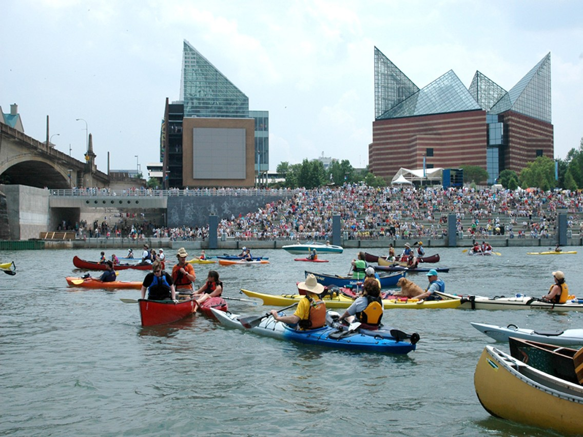 Kayakers at Ross's Landing & the Passage. Photo courtesy Chattanooga Convention & Visitors Bureau.