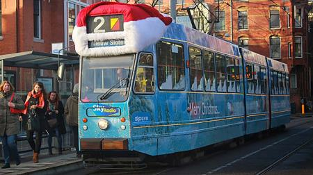trams get festive treatment during Amsterdam's winter holidays