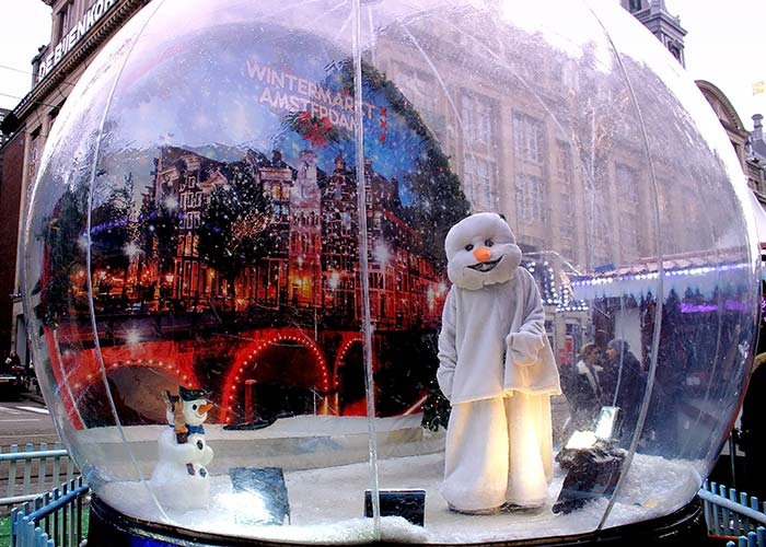 Life size snow globe in Amsterdam