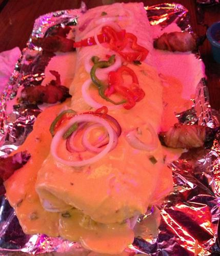 """""""ginormous"""" burrito from Habascus Mexican restaurant in Minden, Louisiana"""