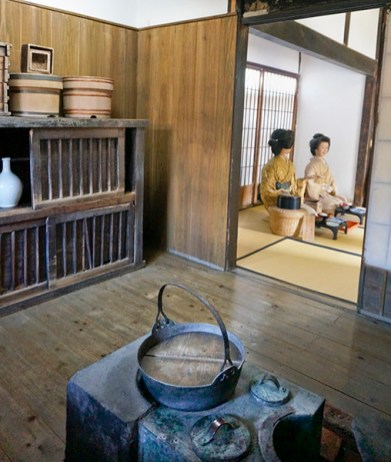 Inside a kitchen at the Samurai Village, Shimabara Peninsula