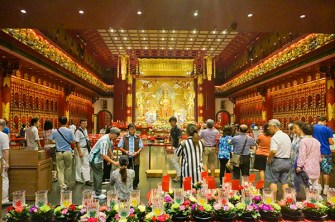 Inside Buddhist temple, Singapore