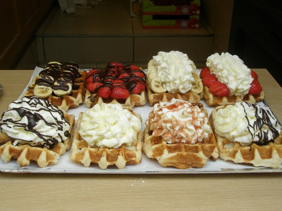 Belgium waffles are adorned with all sorts of goodies. Photo Credit: Deborah Stone