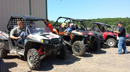 UTV & ATV rentals getting ready to go out at Hayward Power Sports. Photo Credit: Linda Askomitis