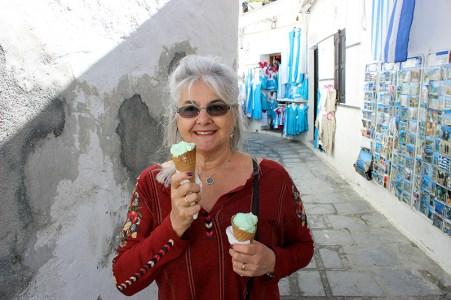 Lisa with Gelato in Rhodes. Photo credit: Jim Richardson