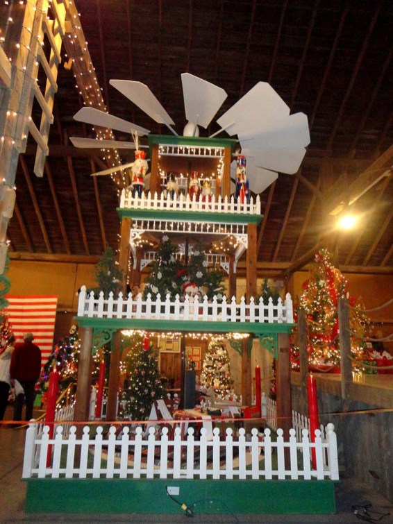 Impressive seventeen-foot German-style Christmas Weihnacht Pyramid tree that stands stories tall. Photo Credit: Cindy Ladage