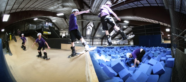Skate boarding at Woodward Barn practice pit. Photo Credit: Tripp Fay