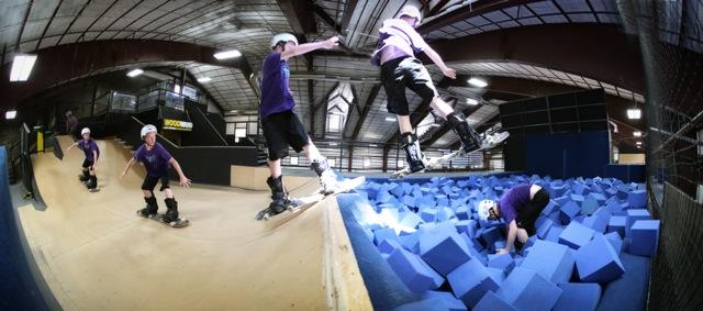 Skate boarding at Woodward Barn practice pit. Photo Credit: Tripp Fay