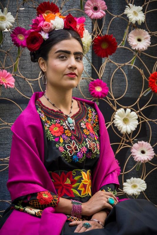 Woman portraying Frida Kahlo at Casa Velas Hotel, Puerto Vallarta, Jalisco, Mexico.