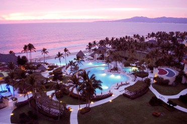 Grand Velas Resort at dusk