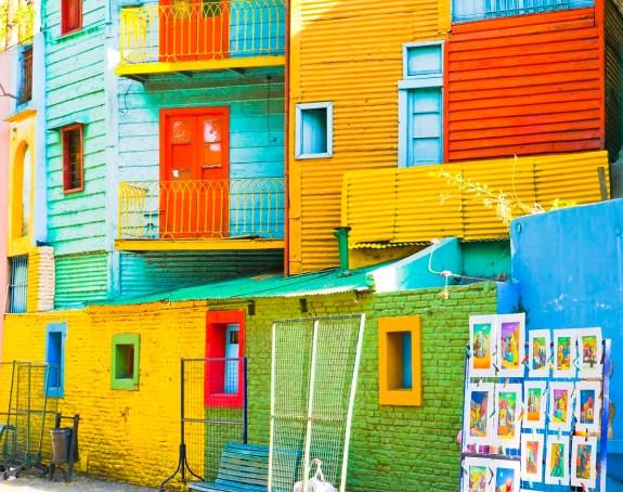 Colorful corregated houses in La Boca barrio