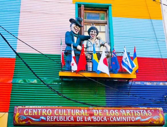 Mannequins represent colorful Argentine figures in La Boca barrio