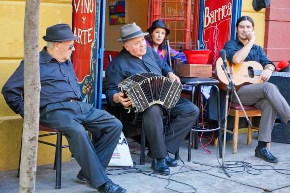 Cafe band in La Boca barrio