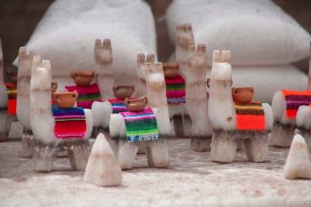 Llamas carved from salt blocks in Salinas-grandes
