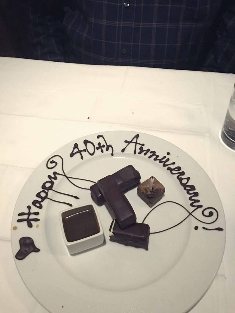 Snake River Grill Anniversary dessert