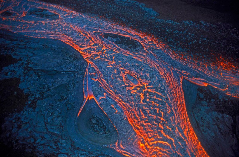 Lava flow from Pu'u O'o rift eruption; Kilauea volcano, Hawaii Volcanoes National Park, Island of Hawaii.
