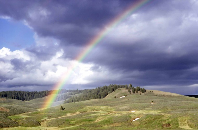 Rainbow in Hayden Valley - Photo by Richard Lake, 1967