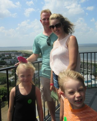 Cindy's daughter, son-in-law, and grandkids on the Tybee Island lighthouse. Photo by Cindy Ladage
