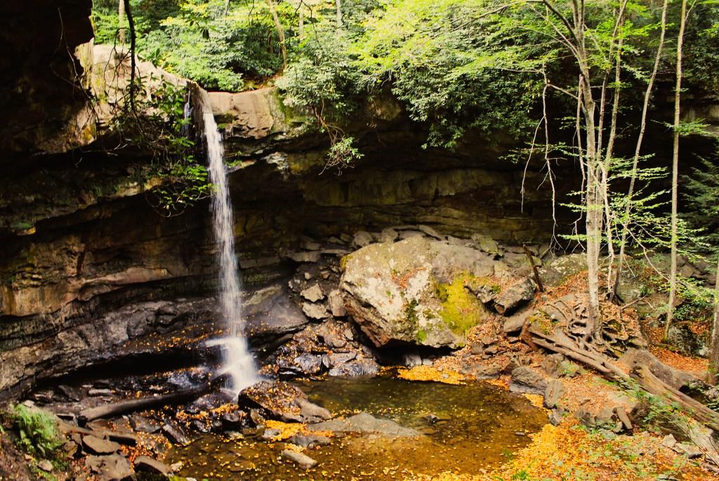 Cucumber Falls in Ohiopyle State Park in Laurel Highlands, Pennsylvania.